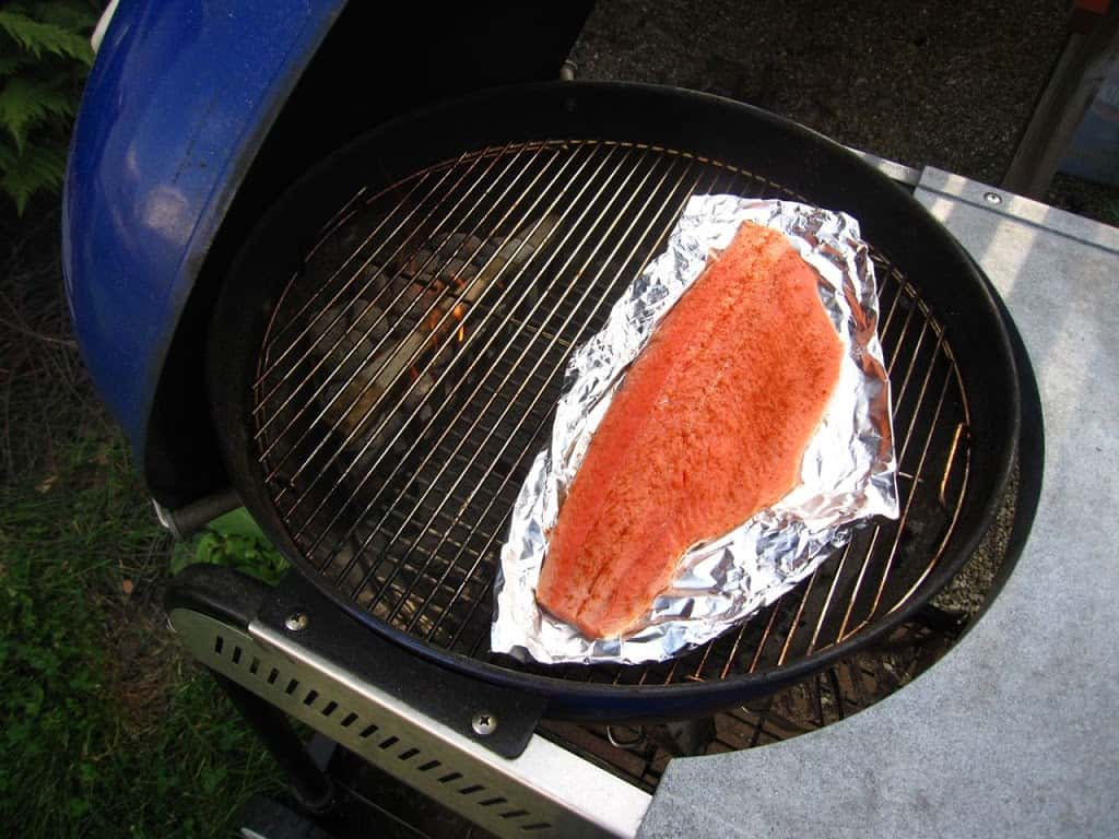 *i Put The Foil And Salmon On A Sheet Tray To Make It Easy To Move Around;  You Just Slide It Off The Tray Onto The Grill