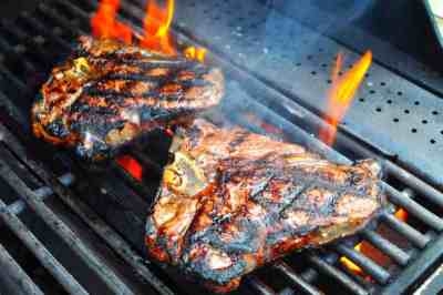 Grilled T-Bone Steaks with Olive Oil, Lemon, Garlic, and Rosemary Marinade