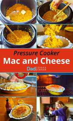 Collage of images showing the steps to make mac and cheese in a pressure cooker