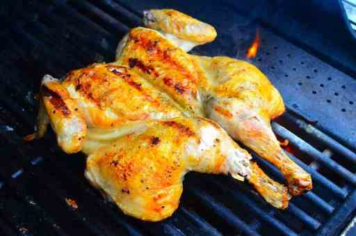 Grilled Butterflied Chicken with Garlic Butter