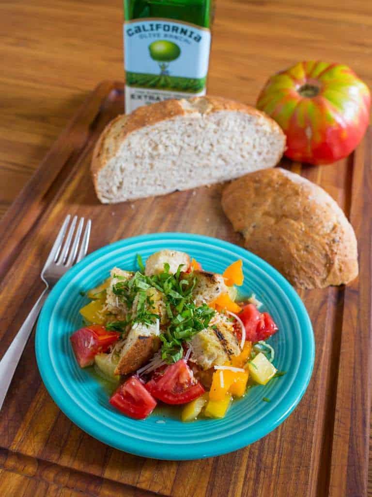 Grilled Bread and Tomato Salad (Panzanella) - DadCooksDinner