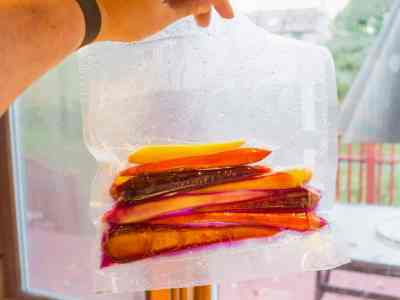 Vacuum sealed bag of carrots cooked sous vide