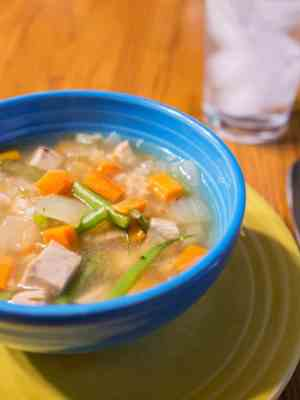 Pressure Cooker Turkey Soup with Rice and Vegetables