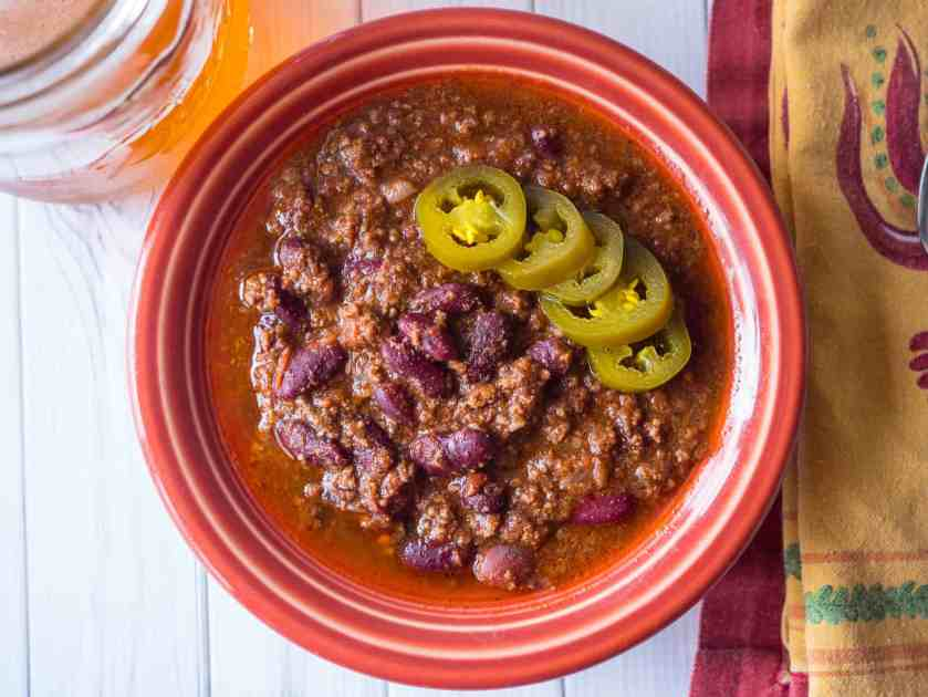 Pressure Cooker Beef and Bean Chili | DadCooksDinner.com