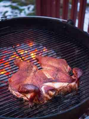 Grill Roasted Butterflied Chicken with Garlic Wet Brine