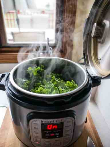 Steam rises from the kale... | DadCooksDinner.com