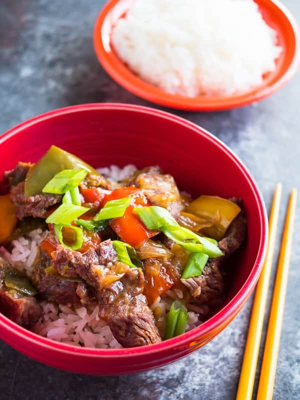 Pressure Cooker Chinese Pepper Steak - the Chinese American classic as a hands-off dinner from the pressure cooker.