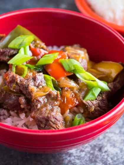 Pressure Cooker Chinese Pepper Steak | DadCooksDinner.com
