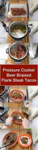 Pressure Cooker Beer Braised Flank Steak Tacos | DadCooksDinner.com