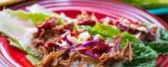 Pressure Cooker Korean BBQ Pork Lettuce Wraps