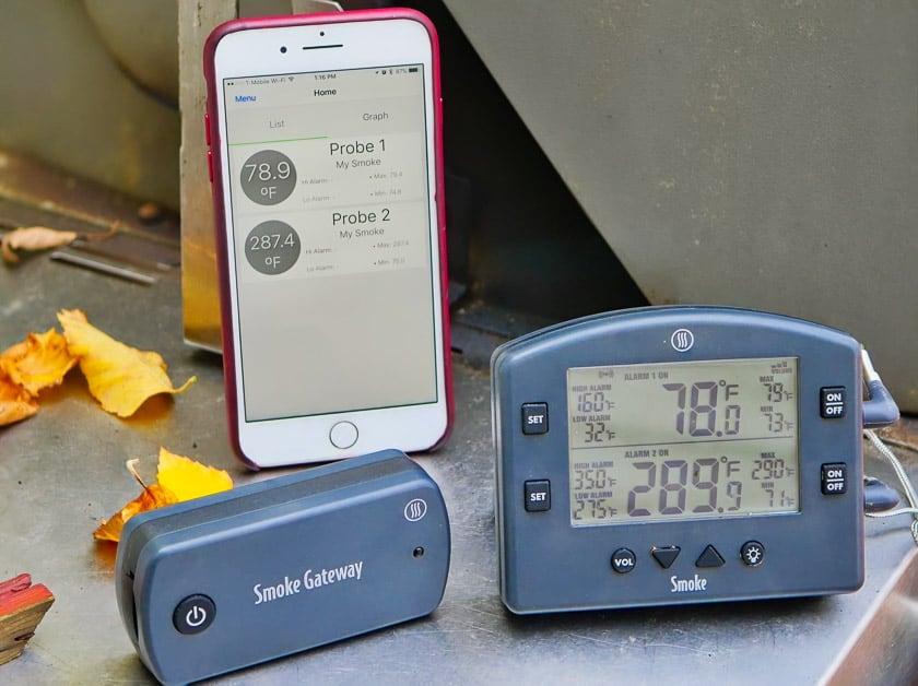 Thermoworks Smoke with Smoke Gateway Wifi Bridge and iphone | DadCooksDinner.com