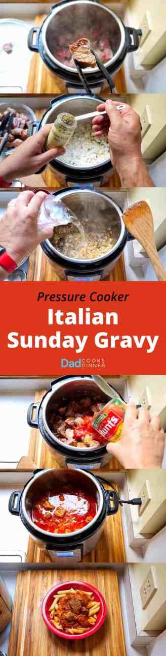 Pressure Cooker Italian Sunday Gravy - Tower Image | DadCooksDinner.com