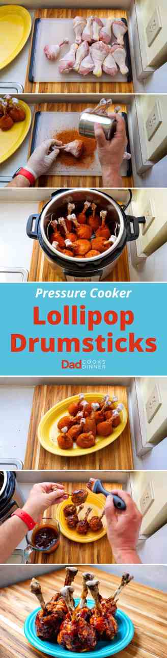 Pressure Cooker Lollipop Drumsticks - Step By Step Tower | DadCooksDinner.com