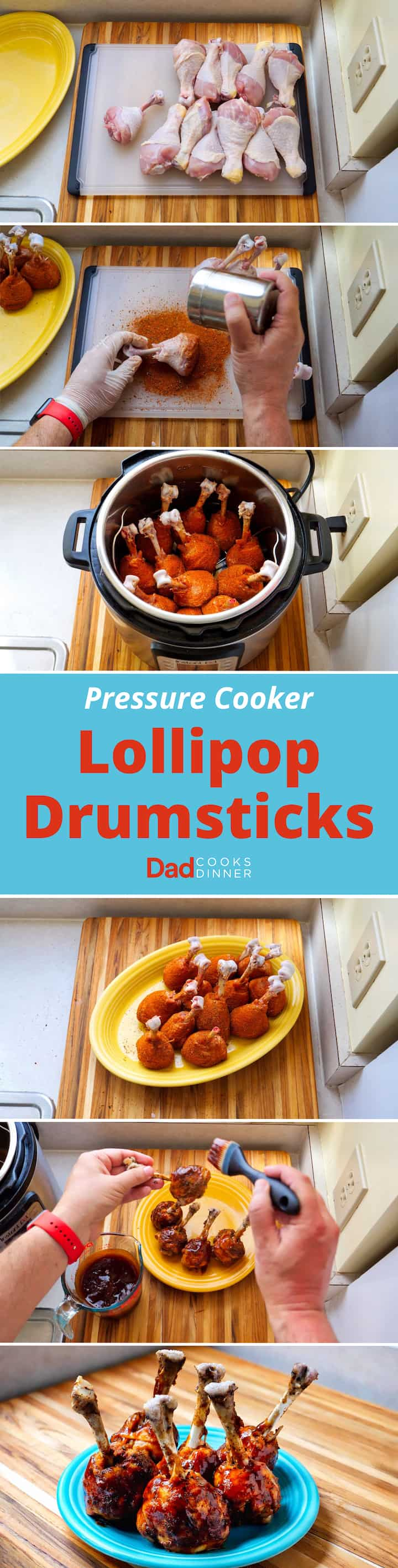 Pressure Cooker Lollipop Drumsticks. The BBQ circuit classic, brought inside to your pressure cooker. | DadCooksDinner.com