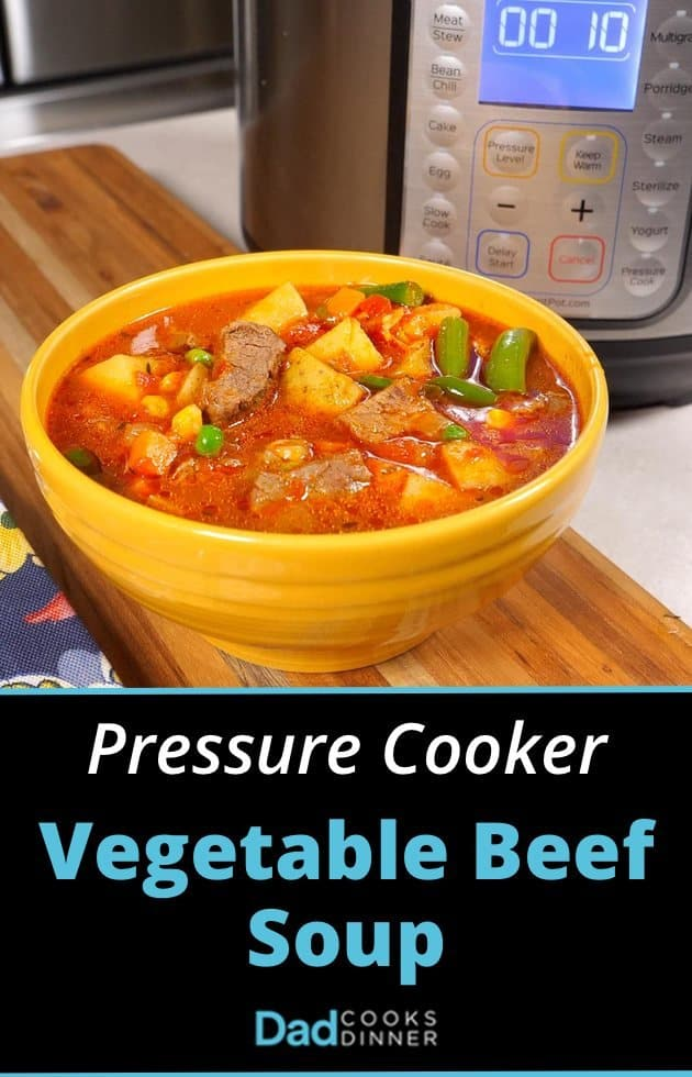Pressure Cooker Vegetable Beef Soup with Caption | DadCooksDinner.com