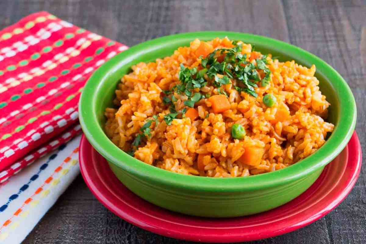 Mexican Brown Rice in a bowl with napkins