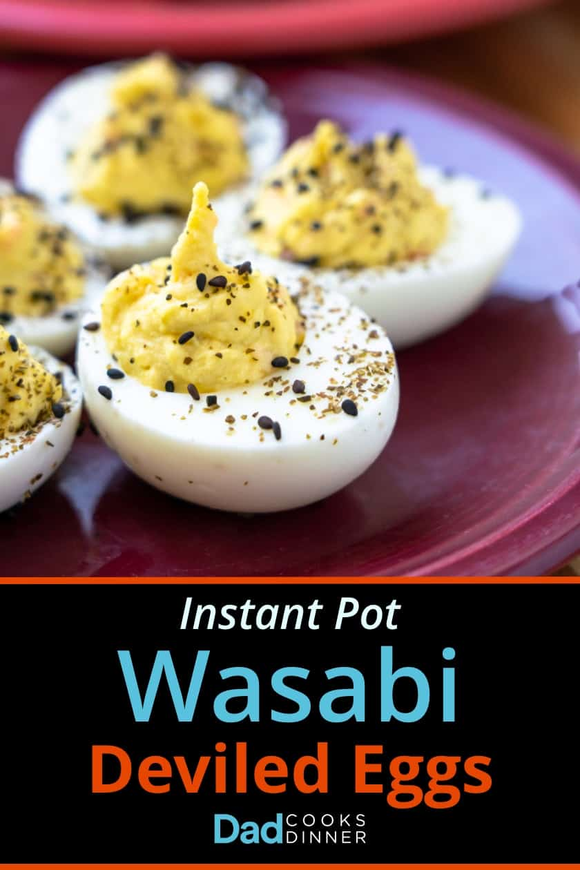 Instant pot wasabi deviled eggs arranged in a circle on a purple plate