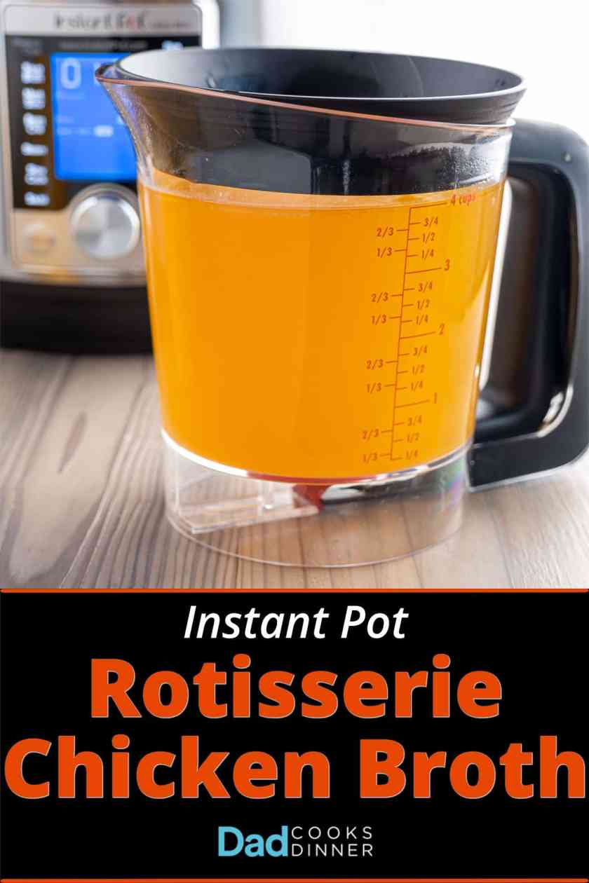 A fat separator full of rotisserie chicken broth, with an instant pot in the background