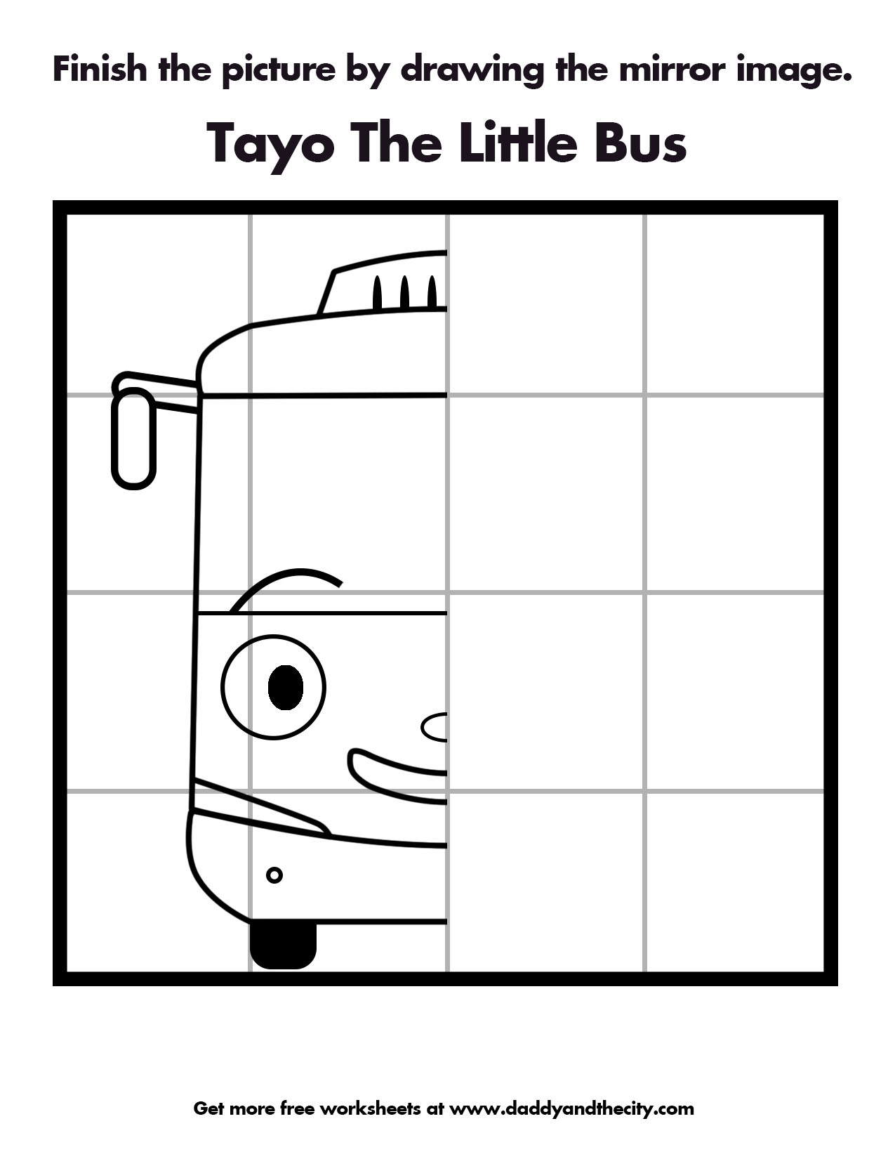 Tayo The Little Bus Mirror Image Worksheet Daddy And