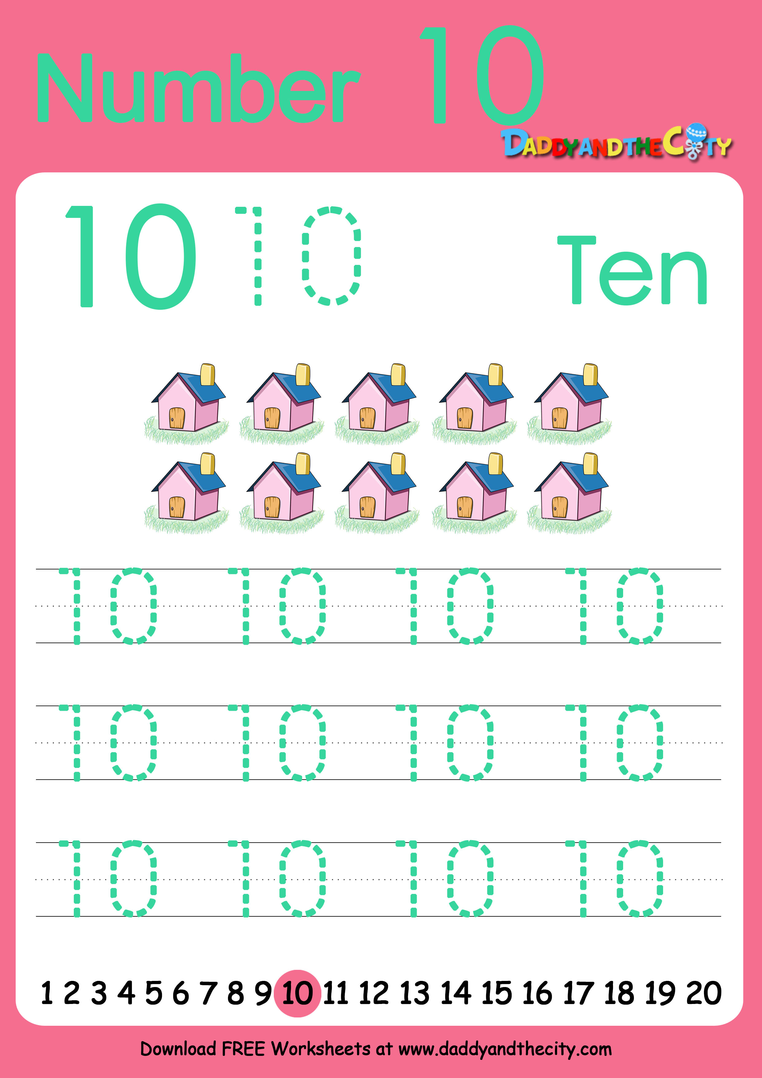 Free Writing Worksheet Numbers 1 10 Daddy And The City