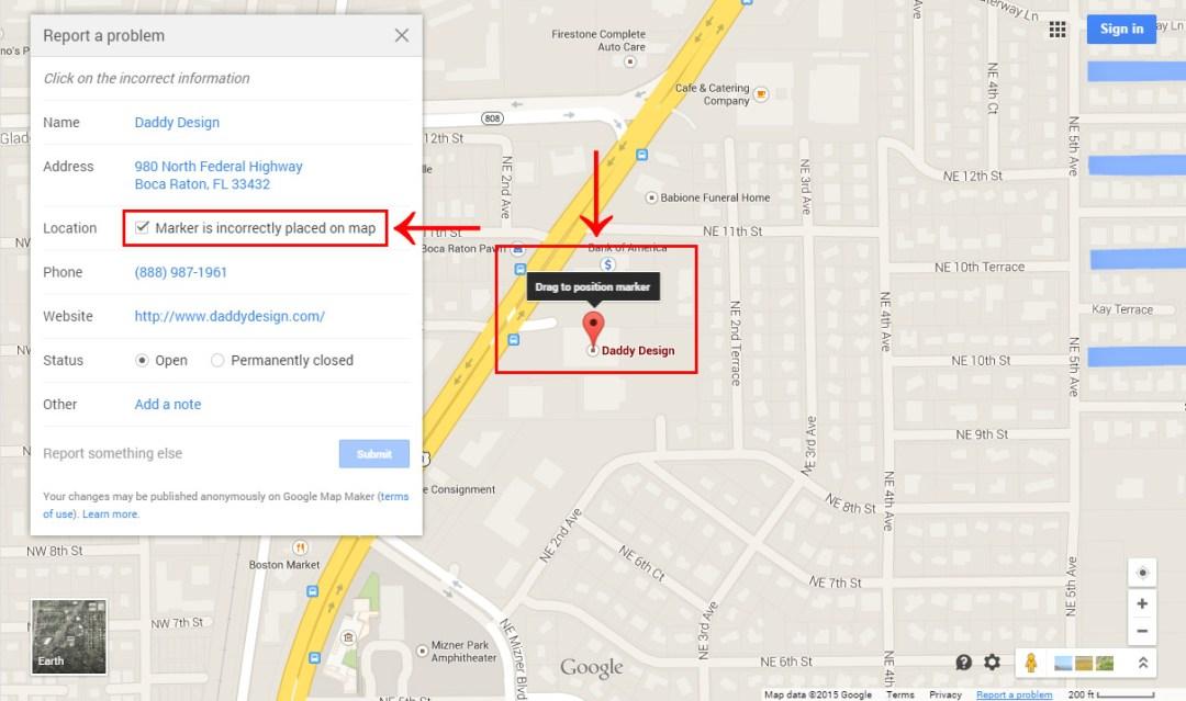 Set the Correct Google Map Marker Location