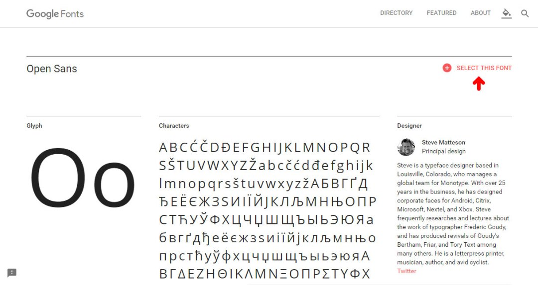 Google Font - Select this Font Button