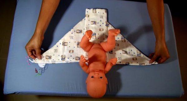 วิธีพับผ้าอ้อมห่อตัวทารก