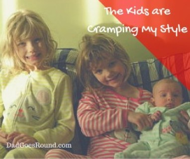 "Image of three sisters with text ""The kids are cramping my style"""