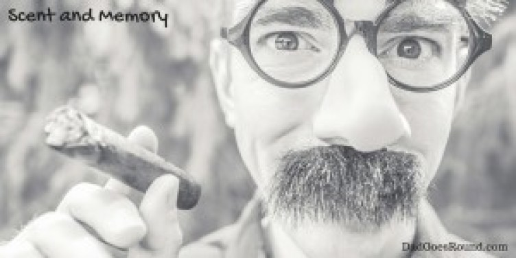 "Image of a man holding a cigar with text ""Scent and memory"""