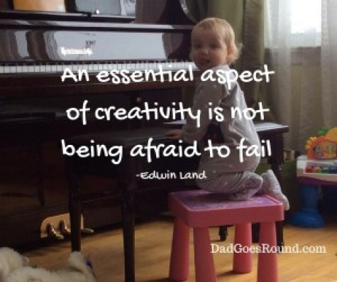 "Image with text ""An Essential aspect of creativity is not being afraid to fail"" by Edwin Land"