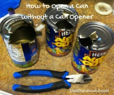 "Image of zoodles cans town open with pliers and text ""How to open a can without a can opener."""