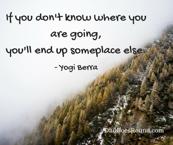 "Image of hillside with text ""If you don't know where you are going, you'll end up someplace else - Yogi Berra"""