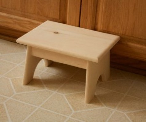 Image of an unfinished pine step stool