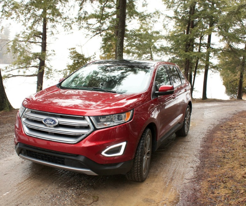 Image of a red 2016 Ford Edge Titanium
