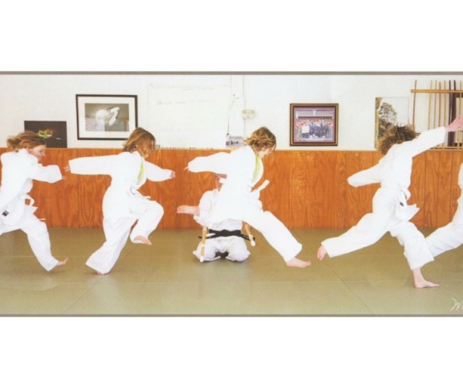Image of a girl jumping in an Aikido class