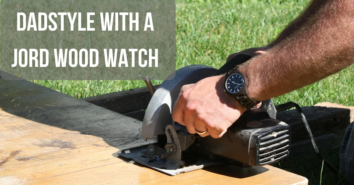 Image of a man cutting wood wearing a Jord wooden watch