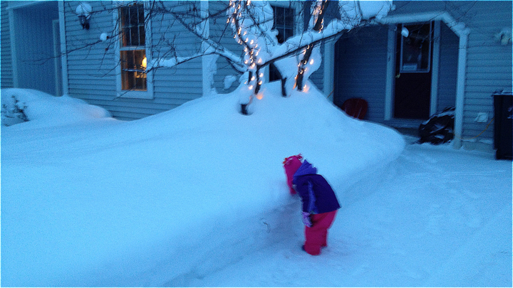 mini-me eats snow