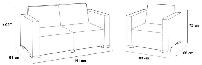 keter salon de jardin california cappuccino canape 2 fauteuils avec accoudoirs