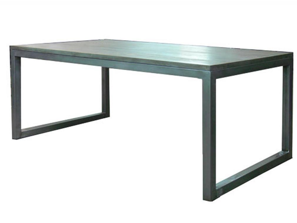Mesa Sau estructura hierro pulido con sobre de madera 200x100cm