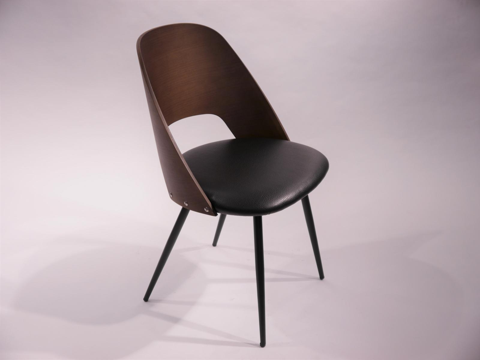 Silla Binoche asiento tapizado y respaldo madera acabado nogal