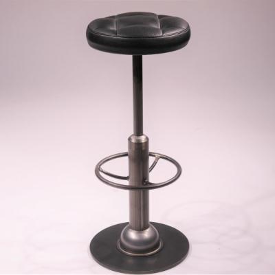 Taburete malcontenta H-78 estructura hierro natural barnizado asiento tapizado