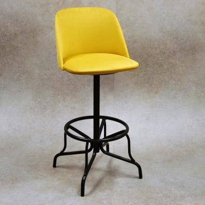 Taburete Gary H-78 giratorio estructura en negro asiento tapizado