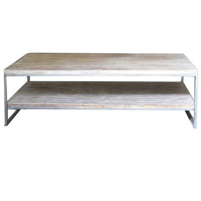 Mesa Sau 2x2 estructura acero pulido con sobre y estante pino viejo patina blanca