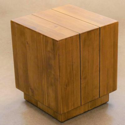 Puff cuadrado de madera de pino envejecido H-45cm