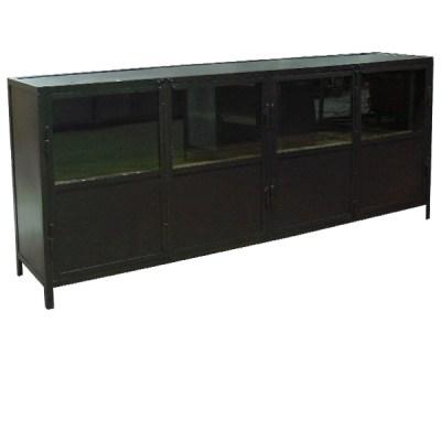 Armario Vielha en hierro natural barnizado y estante de pino envejecido de 200x40 H-90