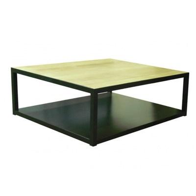 Mesa de centro con plancha de hierro y roble natural