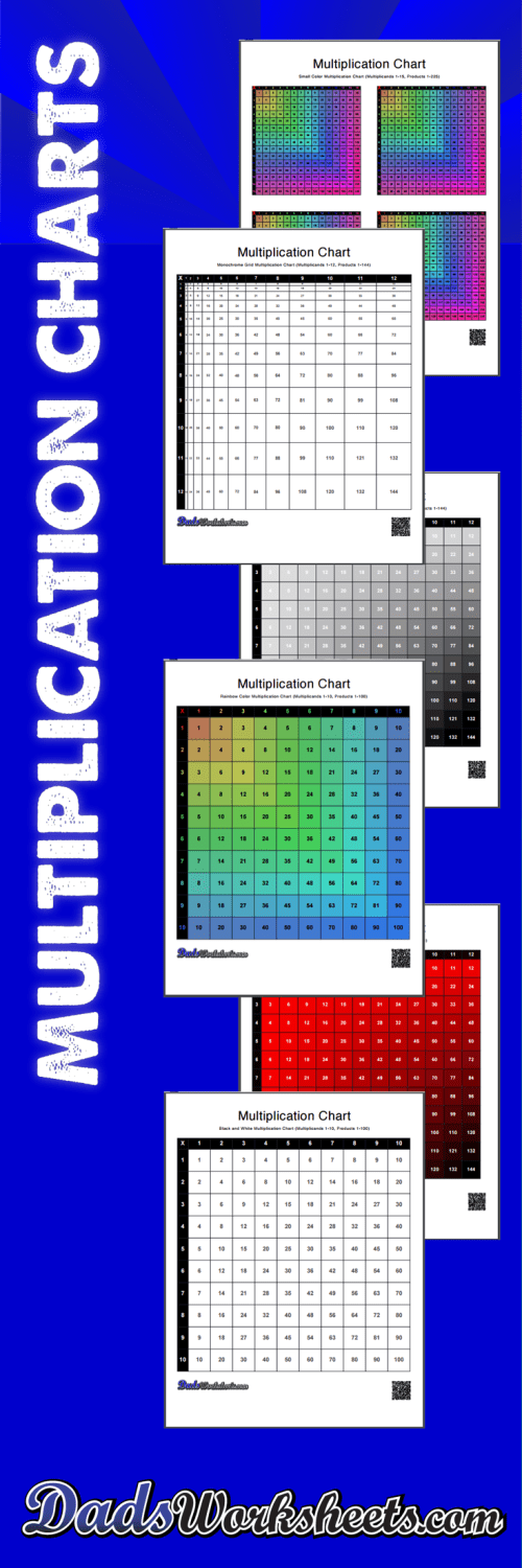 small resolution of Multiplication Charts: 59 High Resolution Printable PDFs