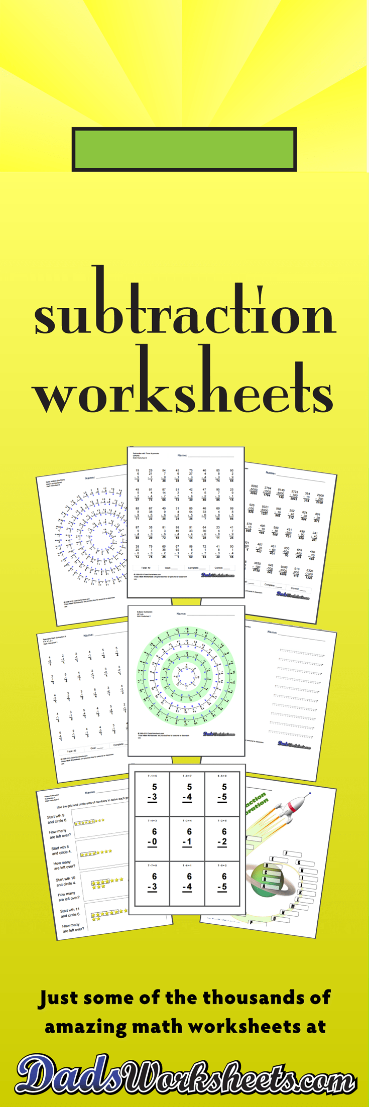 medium resolution of Subtraction Worksheets for Math Practice!