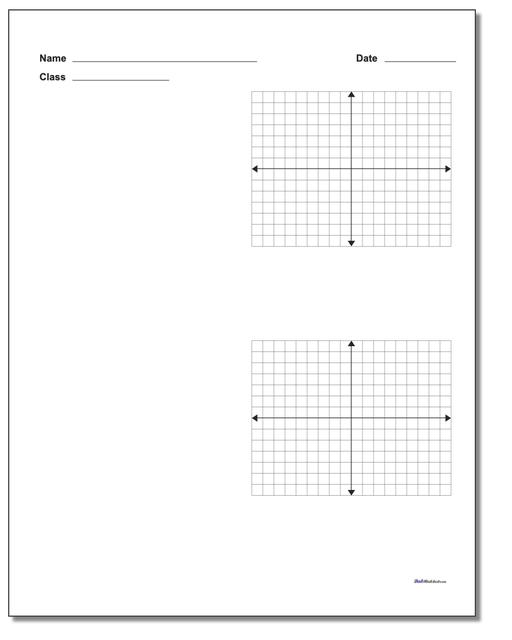 Blank Coordinate Plane Work Pages