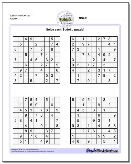 Soduko Printable Sheets